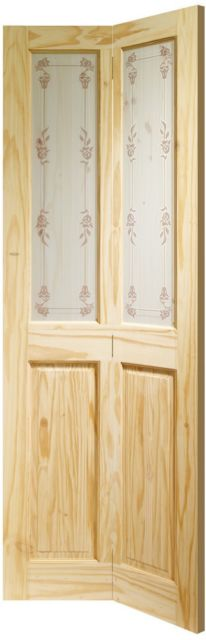VICTORIAN Bi-Fold DOOR: 2-light *Bluebell Glass* Knotty Pine 35mm Bi-Folding Door - XL Doors