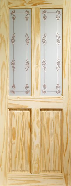 VICTORIAN Glazed DOOR: 2-light *Bluebell Glass* Knotty Pine 35mm Internal Door - XL Doors