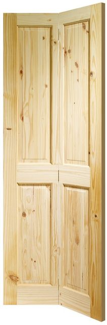 VICTORIAN Bi-Fold DOOR: 4-Panel Knotty Pine 35mm Internal Bi-Folding Door - XL Doors