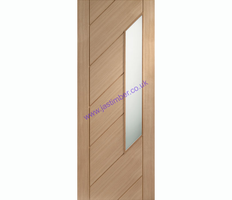 Monza 1-light Obscure Glazed Oak Internal Door