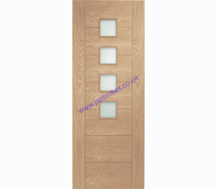 Palermo 4-light Glazed Oak Internal Door