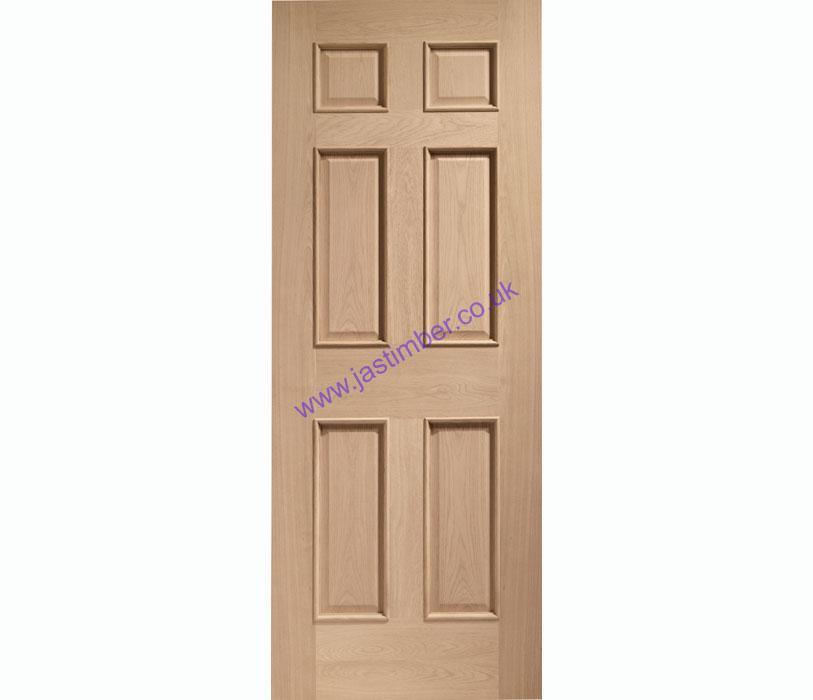 Colonial Raised Mouldings 6 Panel Oak Door Xl