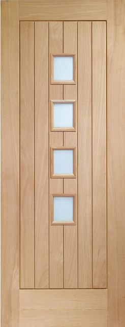Suffolk 4L Glazed Door: T&G effect 4-light *Obscure Glazed* *Unfinished Oak* 35mm Internal Door - XL Doors