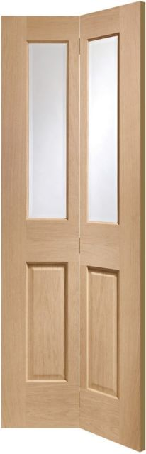 Malton 2L Oak Bi-Fold Door: 2-Light *Clear Bevelled Glass* *Unfinished Oak* 35mm Internal Bi-Folding Door - XL Doors