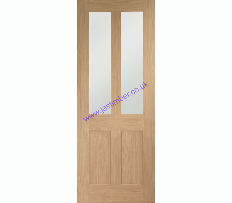 Malton Shaker 2-light Clear Glazed Oak Internal Door