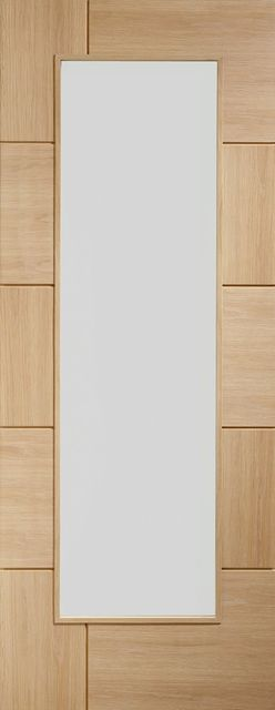 Ravenna Glazed Door: 1-light *Clear Glass* Flush-routered *Unfinished Oak* 35mm Internal Door - XL Doors
