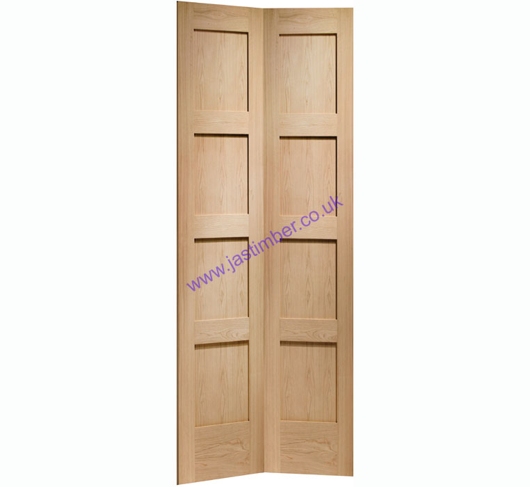 Shaker 8-Panel Bi-Fold Oak Internal Door