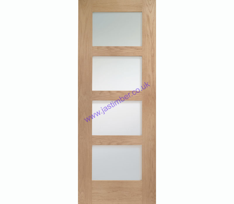 Shaker 4-light Clear Glazed Oak Internal Door