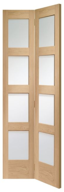 SHAKER Bi-Fold Glazed DOOR: 8-light *Clear Glazed* *OAK* 35mm Internal Bi-Folding Door - XL Doors