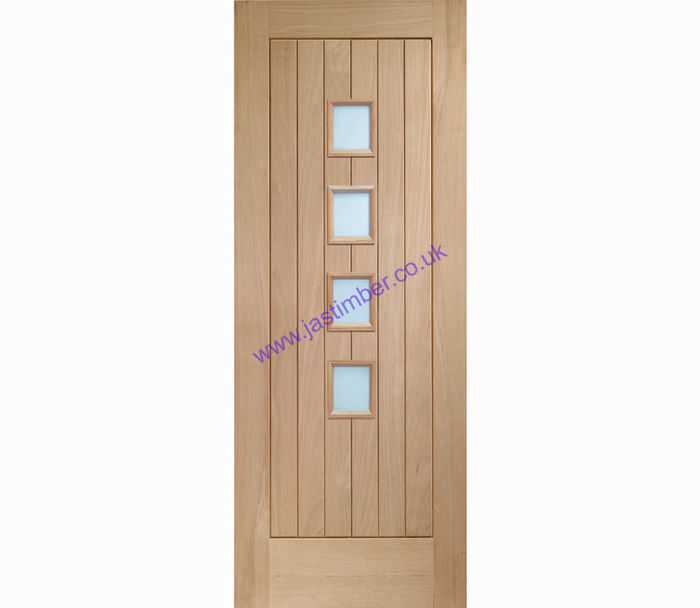 Suffolk Contemporary 4-light Glazed Oak Internal Door