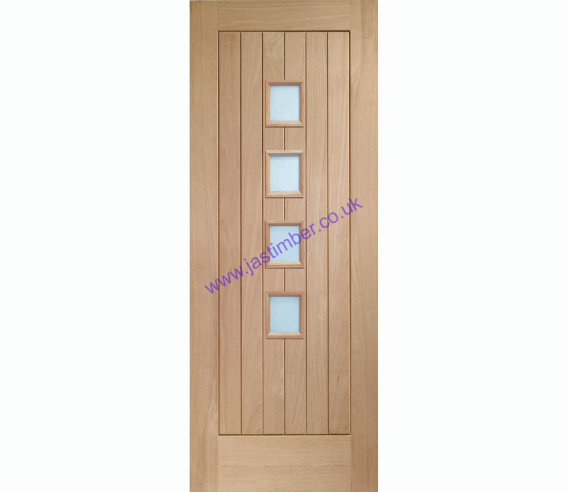 Suffolk Contemporary Glazed 4-light Oak Internal Door - XL Joinery