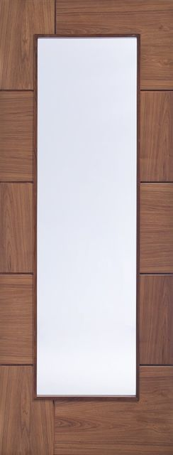 Ravenna Glazed Door: 1-light *Clear Glass* Flush-routered *Pre-Finished Walnut* 35mm Internal Door - XL Doors