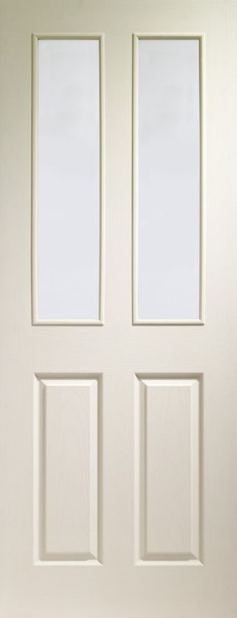Victorian 2-light Clear Glazed White Moulded Door