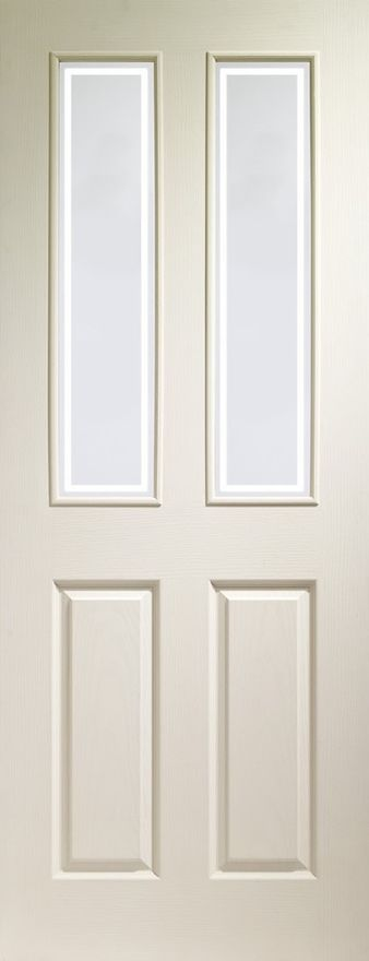 Victorian 2-light Forbes Glazed White Moulded Door