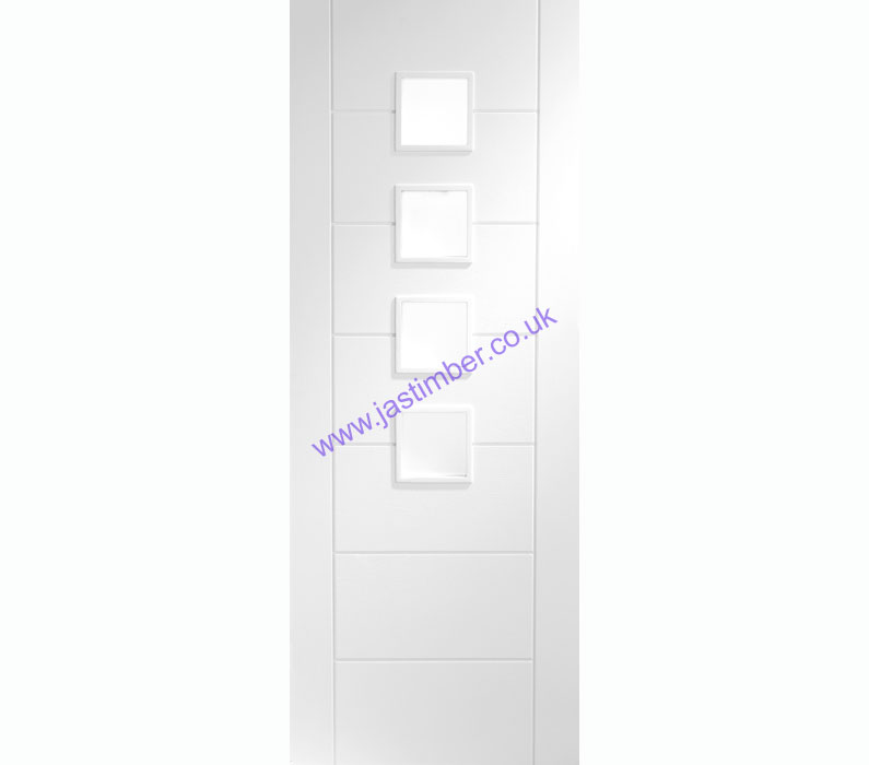 Palermo 4-light Glazed White Primed Internal Door - XL Joinery