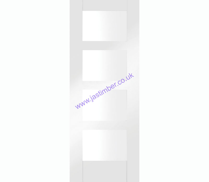 Shaker 4-light Clear Glazed White Primed Internal Door
