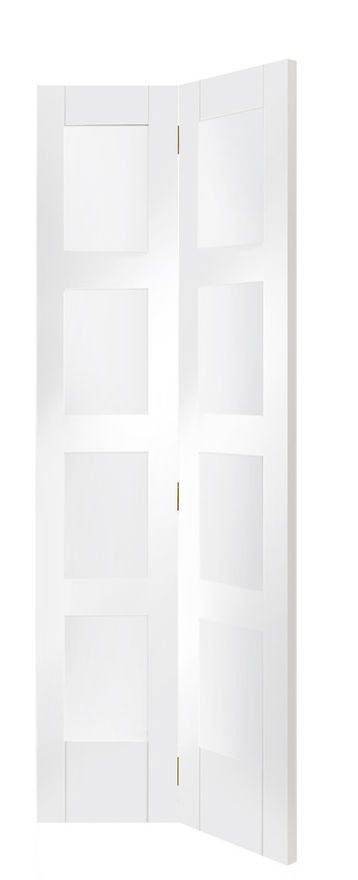 Shaker Glazed White Primed Bi-Fold Doors
