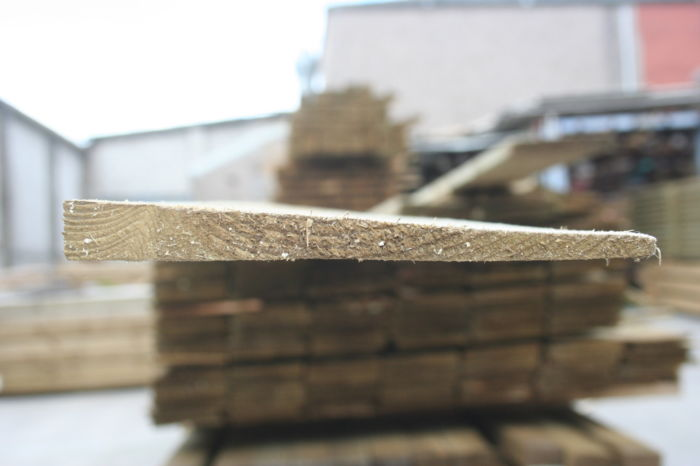 125mm Brown Treated Rough Sawn Feather Board; Image 3066