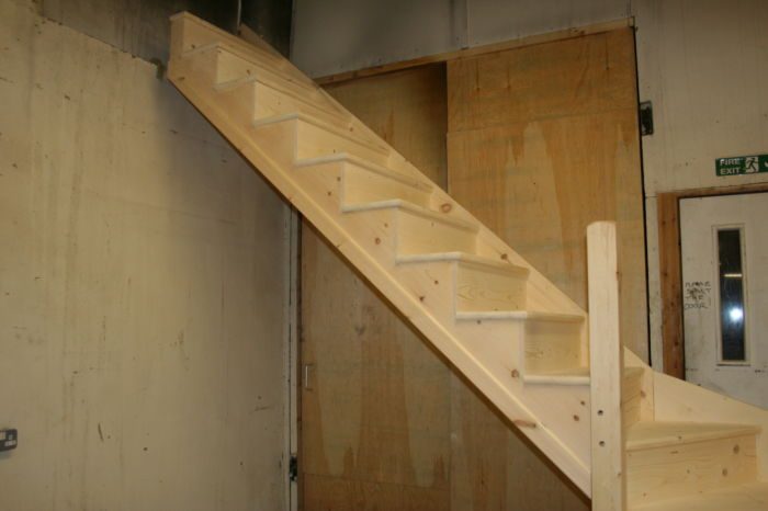 Made to Measure Solid Pine Staircase with Pine Overhang Treads; Image 1276