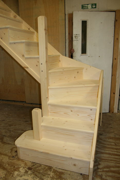 Solid Pine Stairs - Full Curtail Step - Pine Kite - M&T Pine Newels; Image 1275