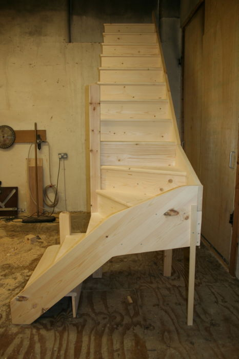 Solid Pine Stairs with Curtail Step, Kitewinder and Newel; Image 1274