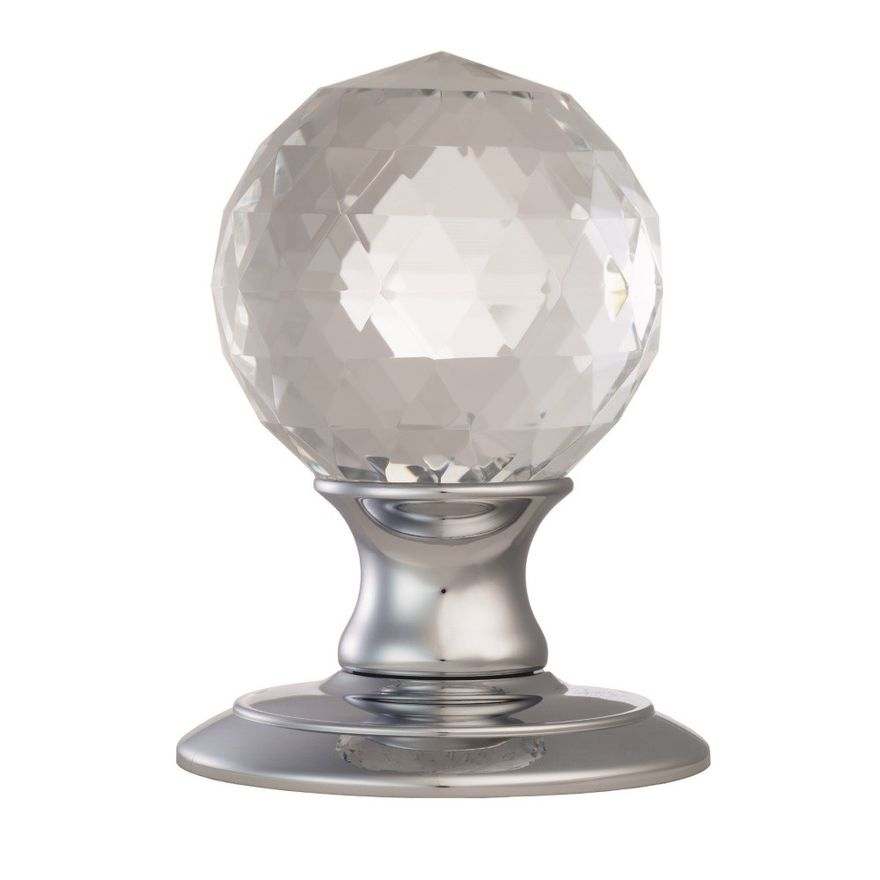 Ice Facetted Crystal Knob Handle - AC020CP Polished Chrome