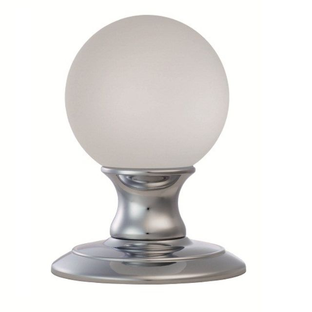 AC011 Ice Frosted Crystal Ball Door Knob -  Polished Brass - Polished Chrome & Satin Chrome