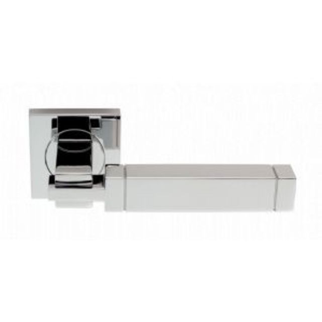 SZM320 Serozzetta Cube Lever Door Handle on 50mm Rose