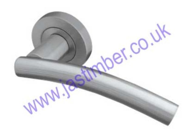 Frelan CURVE Lever Door Handle on 50mm Round Rose JV520PB/PC/SC/SN