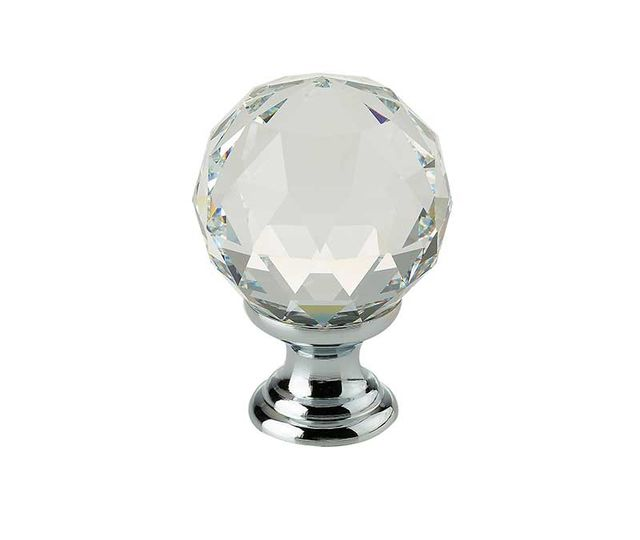 Frelan 30mm Dia. Swarovski Cabinet Knob on 20mm Round Rose 2000/30 PC