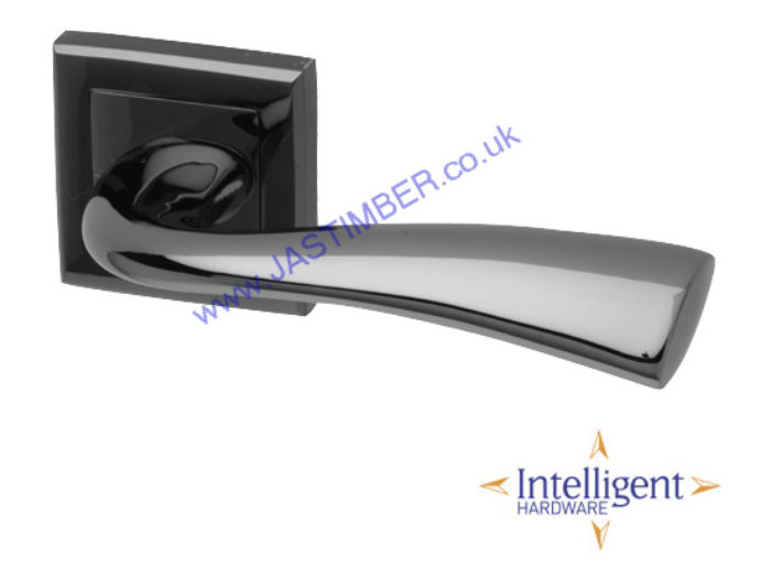 Scimitar Black-chrome Square-Rose Door Handles