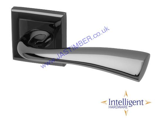 Intelligent Scimitar Black Nickel Square Rose Door Handles