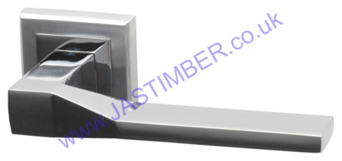 Canterbury Dual-Chrome Square Rose Door Handle