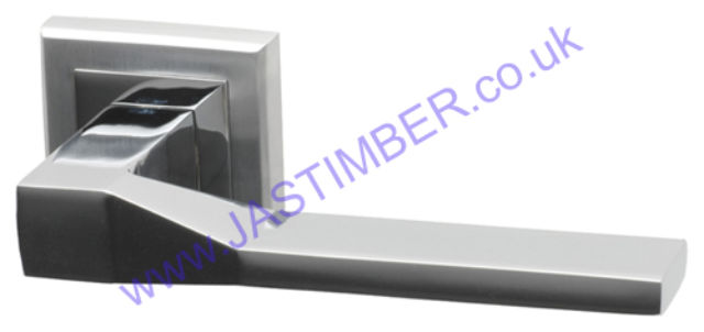Intelligent Canterbury Dual Chrome Finish Door Handles on Square Rose : CAN.09.PCP/SCP