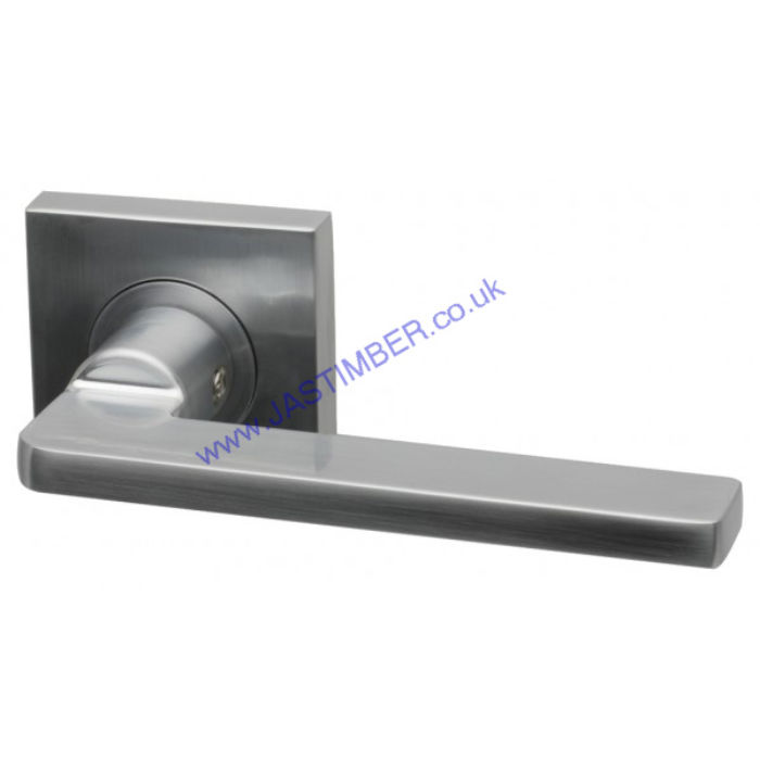Gemini Satin-Chrome Door Handle on Square Rose