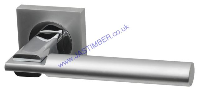 Intelligent Tetra Dual Chrome Finish Door Handles on Square Rose : TET.09.PC/MC