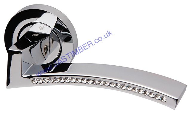 Intelligent® AZORE Polished-Chrome / Swarovski Crystal® Door Handles : ORO.AZORE.PCP