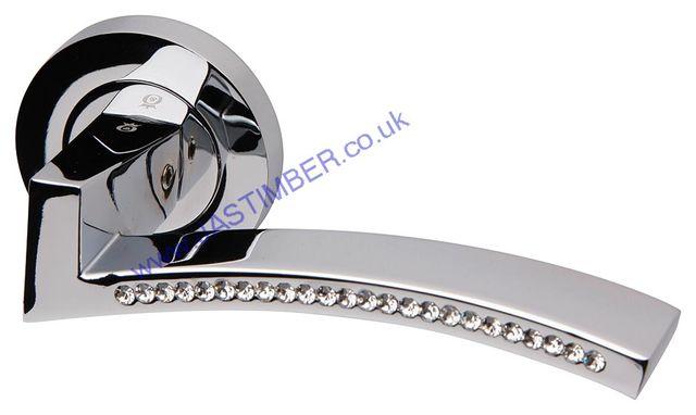 Amazing Intelligent® Azore Polished Chrome / Swarovski Crystal® Door Handles :  ORO.AZORE.PCP
