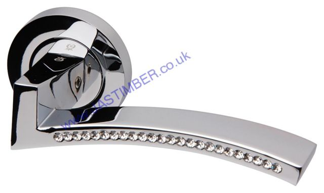 Intelligent Azore Polished-Chrome / Swarovski Crystal Door Handles : ORO.AZORE.PCP