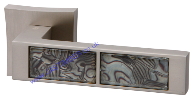 Intelligent Tigrata Pearl-Nickel / Black pattern Inset Door Handles on Square Rose : ORO.TIGRATA.PN/BLK