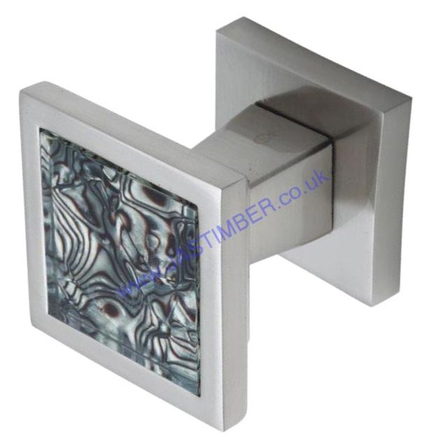 Intelligent Tigrata Pearl-Nickel / Black pattern Inset Square Door Knob on Square Rose : ORO.TIGRATA.KNOB.PB/BLK