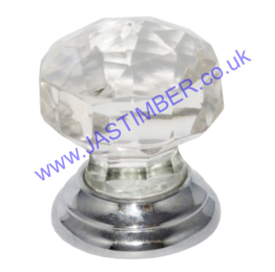 B3549 38mm Facetted Glass Cabinet Knob - Chrome rose
