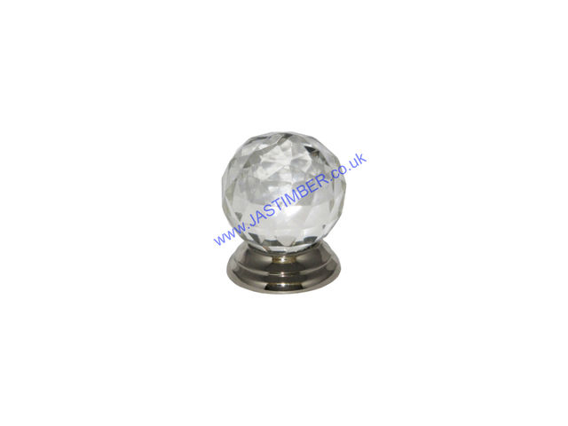 Securit B3555 & S3555 38mm Facetted Glass Ball Cabinet Knob Handles on 35mm Rose - CP