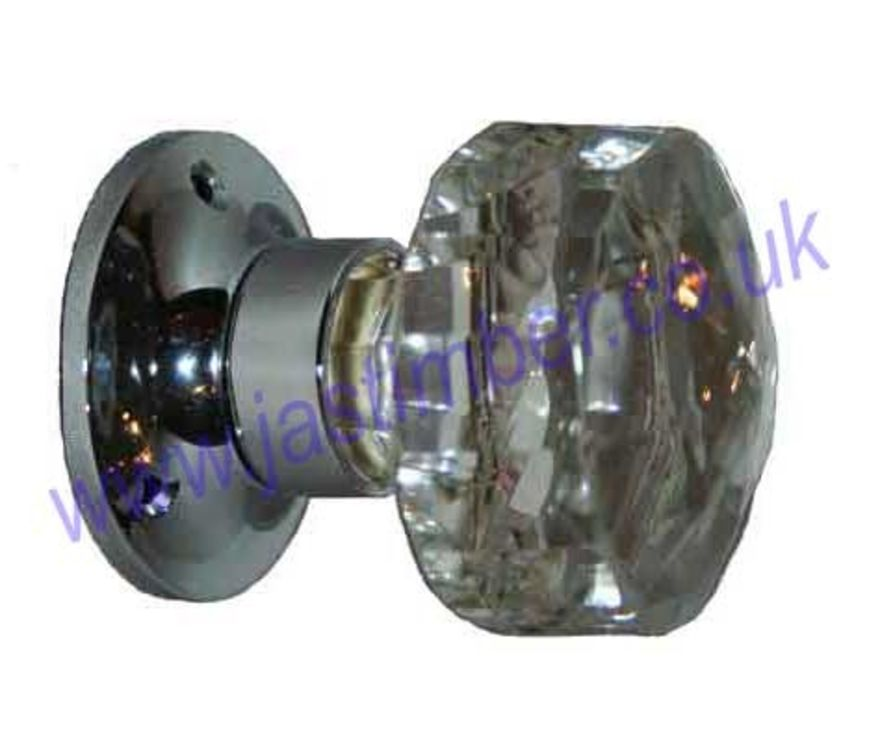 Facetted Glass Door Knob Handles - B3290 Chrome
