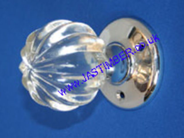 Securit B3292 & S3292 Glass Pumpkin Mortice Door Knob Handles on 60mm Rose - CP