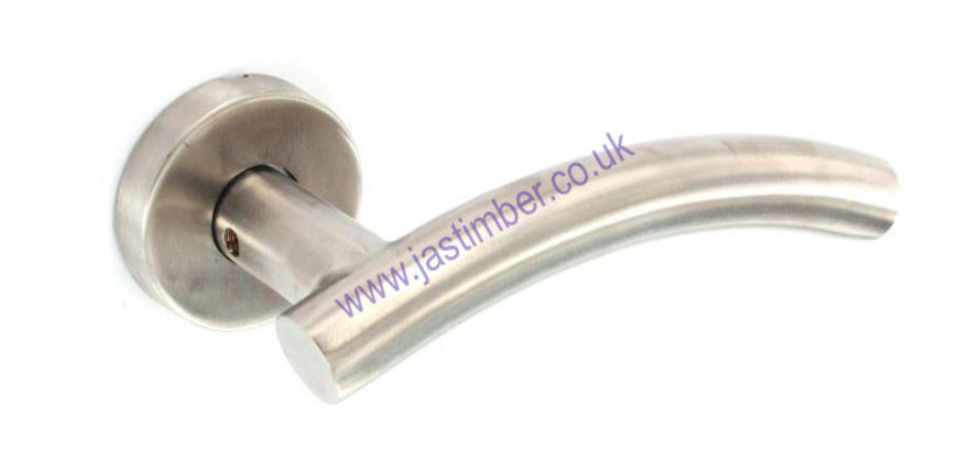 Securit S3402 Arc Lever Door Handle on 50mm Round Rose  - SSS