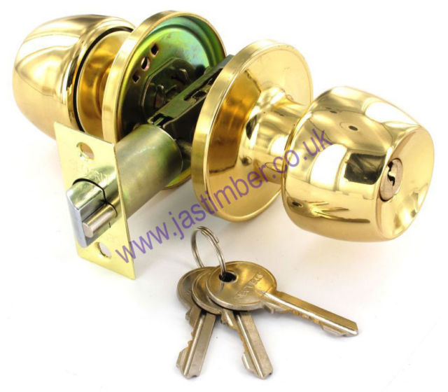 Securit B2950 - B2951 - B2952 - Combination Door Knob Lock/Latch Set on 64mm Round Rose - Brass