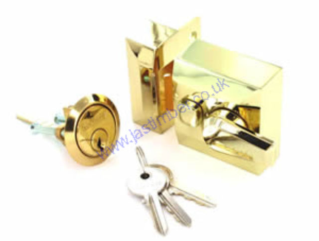 Brass Double Locking Night Latch & Brass Cylinder - Securit B1731 Boxed