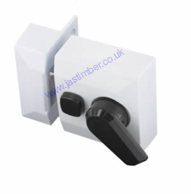 White Double Locking Night Latch & Brass Cylinder - Securit B1735 Boxed