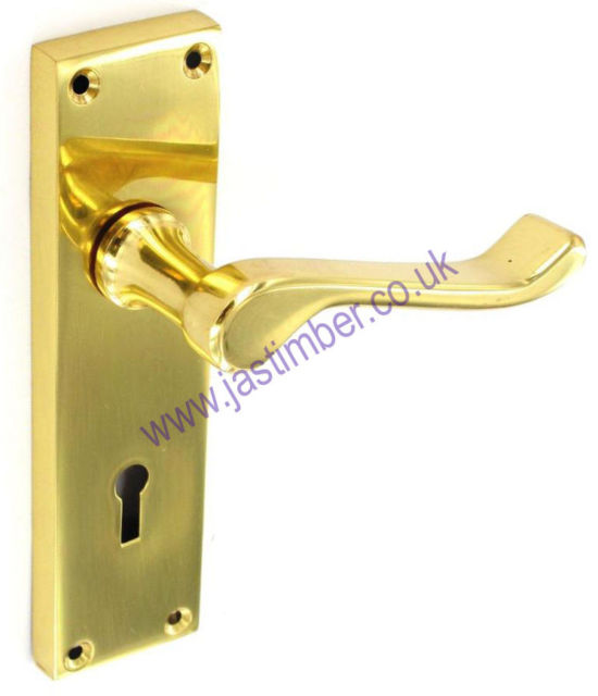 Securit S2840 SCROLL LEVER LOCK DOOR HANDLE on Backplate - BRASS